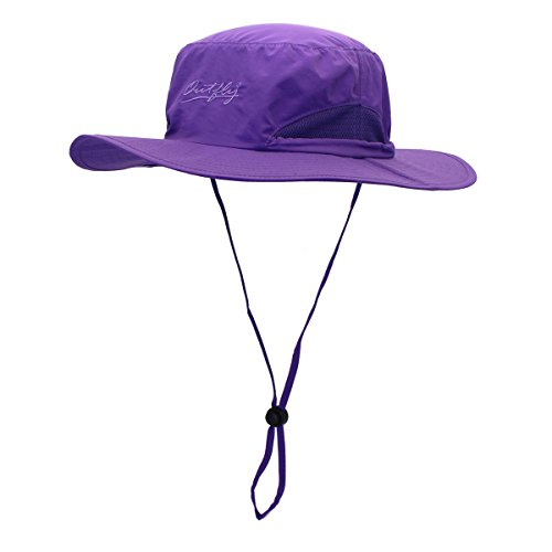 LLmoway Unisex Big Brim Mesh Summer Safari Cap UV Protection Dry Fit Fishing Hat with String Purple