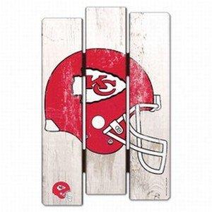 (WinCraft NFL Kansas City Chiefs Wood Fence Sign, Black )