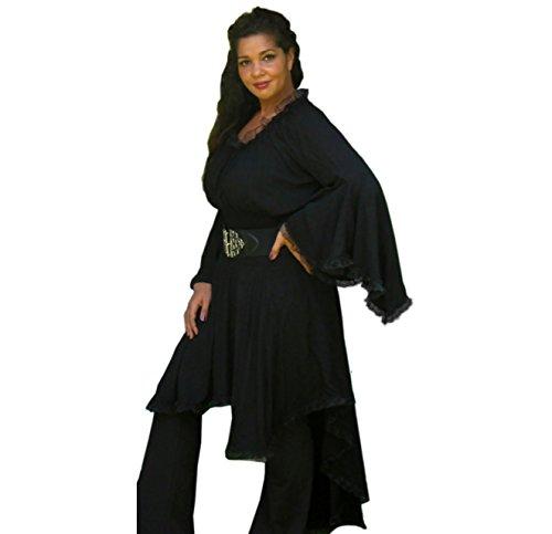 Blusa Campesino Encaje encantador elegante Classic Lagenlook [S565] negro