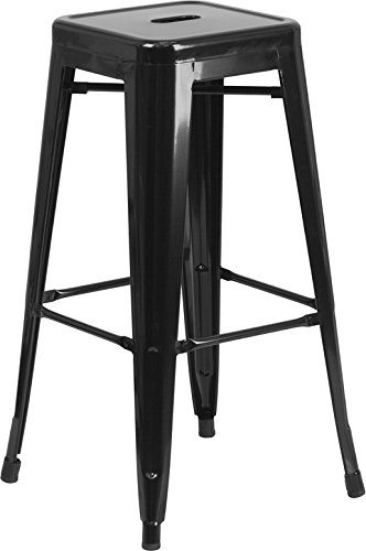 Cheap  Flash Furniture 30'' High Backless Black Metal Indoor-Outdoor Barstool with Square Seat