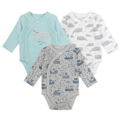 Baby Boy Bodysuit Set, 3-Pack Kimono Bodysuits