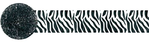 "[Single Pack] Crepe Paper Streamer Roll ""Animal Zebra Design"" for Decoration and Craft Supply with 81 Ft / 24.7 M Length {Black and White Colors}"