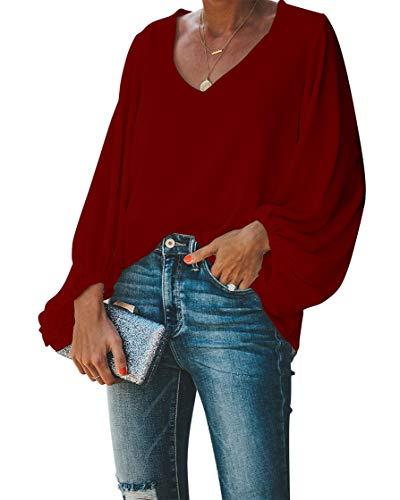 BELONGSCI Women's Casual Sweet & Cute Loose Shirt Balloon Sleeve V-Neck Blouse Top Wine Red