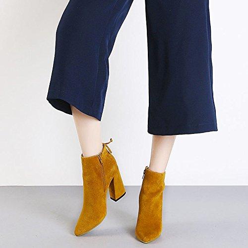 Stiefel FLYRCX scharfe Schuhe mit Damen Winter hohen heel und europäischen Stil Im Winter Absätzen Heel r1zarY
