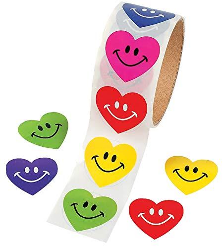 Zugar Land Smile Face Heart Sticker Rolls (200 Stickers (2 Roll)) Paper. 1 1/2