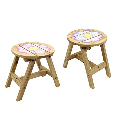 Teamson Design Corp Fantasy Fields - Magic Garden Thematic Kids Wooden Outdoor 2 Chairs Set  Imagination Inspiring Hand Crafted & Hand Painted Details Non-Toxic, Lead Free Water-based (Hand Painted Childrens Construction Chair)