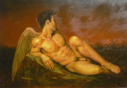 Hand Painted Beautiful Stretched/ Framed Modern Home Wall Decoration Art Canvas Oil Painting, Angel Nude Male Canvas Oil Painting