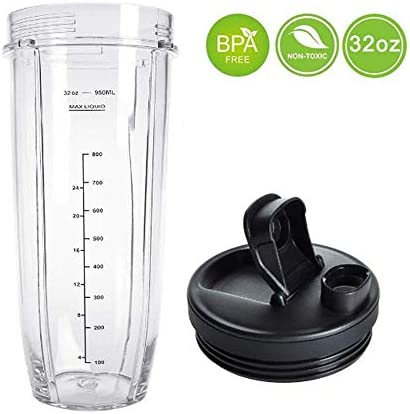 Flip Top to-go Lid and 32OZ Cup and 7 Fins Blade for Nutri Ninja Auto IQ 1000W Blender Accessories Replacement Parts BL482 BL480-30 BL482-30 BL682