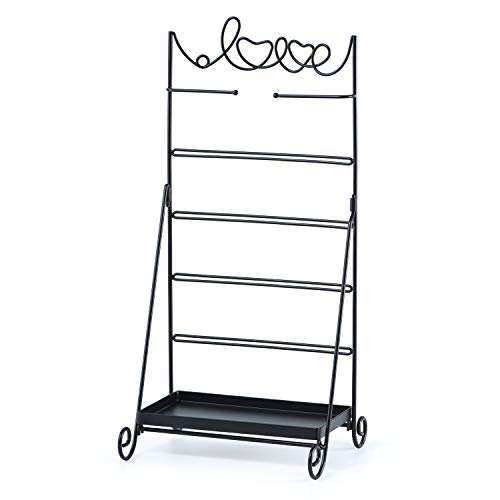- Love-KANKEI Earring Organizer Stand 6 Tier Metal Jewelry Organizer with Large Storage for Necklace Bracelet Earring Black