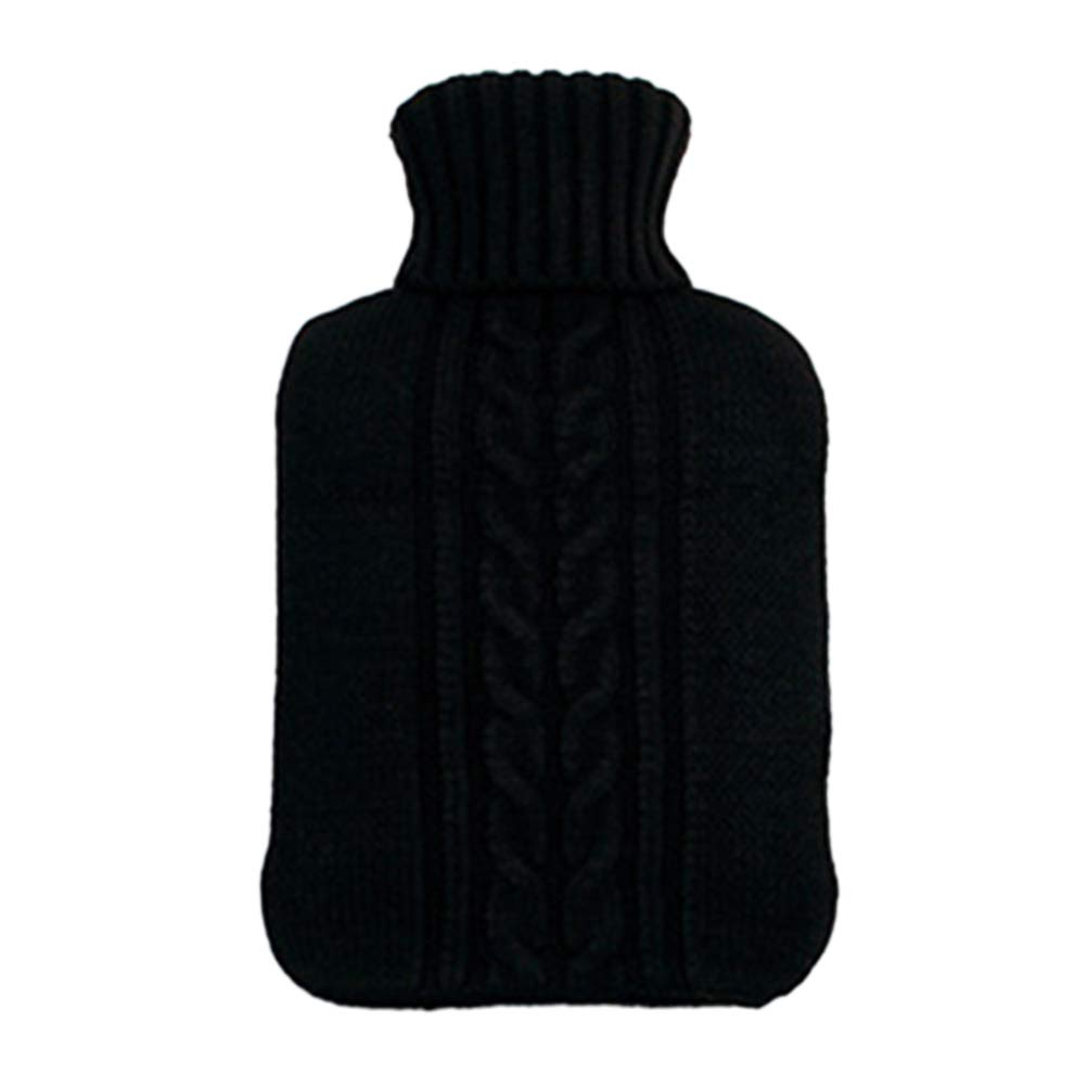 Vosarea 2L Soft Knitted Hot Water Bottle Cover for Quick Pain Relief and Winter Comfort (Black)