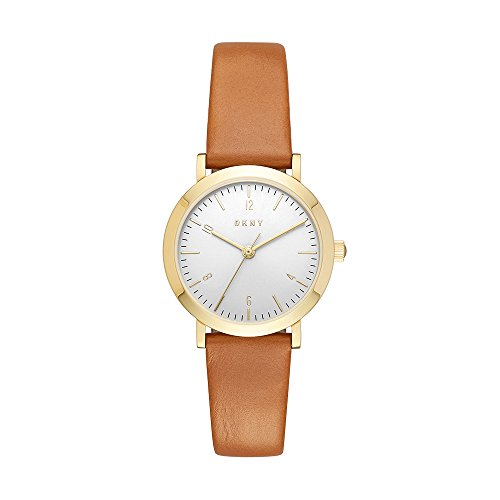 DKNY Women's 'Minetta' Quartz Stainless Steel and Leather Casual Watch, Color:Brown (Model: NY2616)
