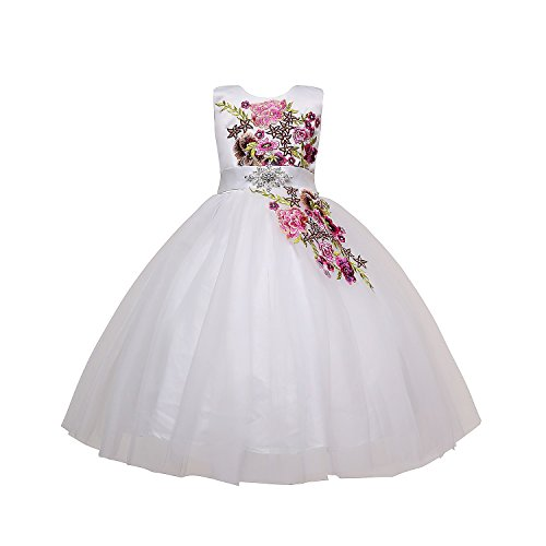 - Amberry Little Big Girl's Multicolor Flower Embroidery Party Dress 3-16 Ivory Years(Ivory,12)