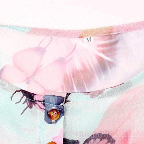 Superiore V Donne Irregolare Sexy Neck Shirt Maglietta Stampato Camicetta Donna Floreale Ningsun T Eleganti Orlo Moda Top Camicia Chiffon Verde Loose Pulsante Casual 5Y6ZnT