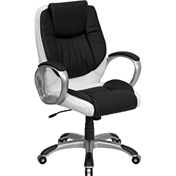 This item Flash Furniture Mid Back Black and White Leather Executive Swivel  Chair with ArmsAmazon com  Flash Furniture Mid Back Black and White Leather  . Flash Furniture Mid Back Office Chair Black Leather. Home Design Ideas