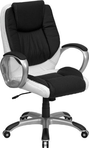 Amazon Com Flash Furniture Mid Back Black And White Leather