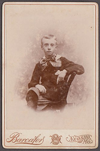 (Blond boy knickers plaid bow tie seated cabinet photo Barcafer Neosho MO)