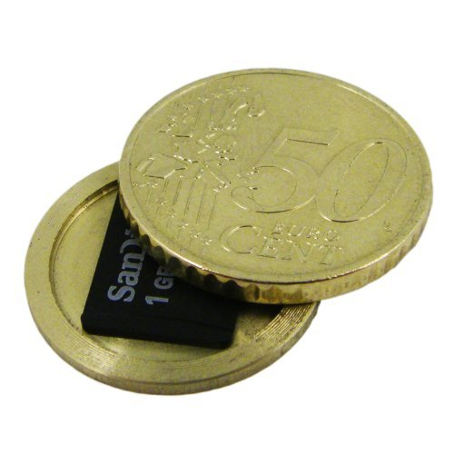 (50 Cent Half Euro Coin - Micro SD Card Covert Coin - Secret Compartment)