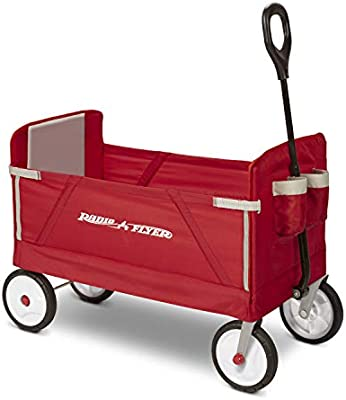 3-in-1 EZ Fold Wagon Red Padded Seat with Seat Belts Radio Flyer