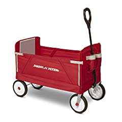 Radio flyer' s 3-in-1 EZ fold wagon™ is designed as a full sized wagon for kids that folds compactly and offers 3 different modes: 2 kids riding, flatbed hauling, and bench seating. With an easy one hand fold, you can take or store the wagon ...