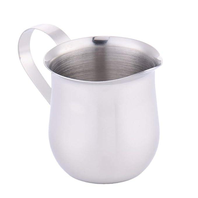 Jarra de acero inoxidable con espumador de leche para hacer café expreso, capuchino, café con leche, herramienta para crear una taza de leche condensada: ...