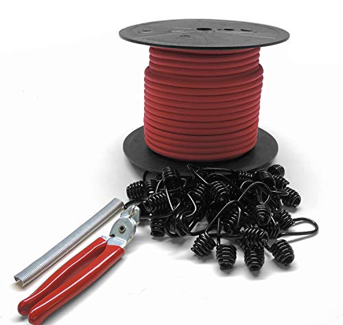 Secure IT Quick - 5/16'' Bungee Cord Kit, 100' Bungee Cord, 100 Hog Rings, 30 Plastic Coated Spring Hooks, 1 Set of Pliers(RED)
