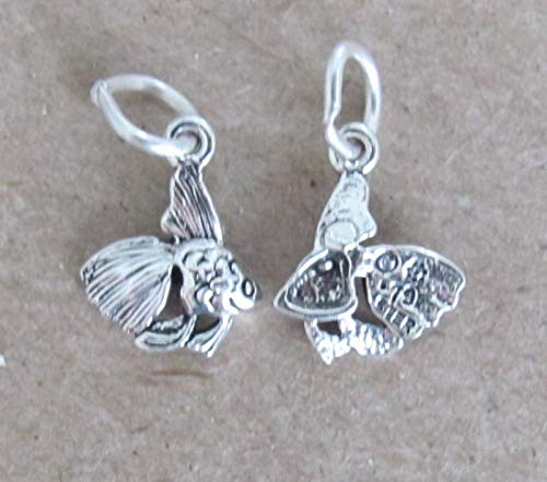 Small Sterling Silver Tropical Fish Miniature Charm.