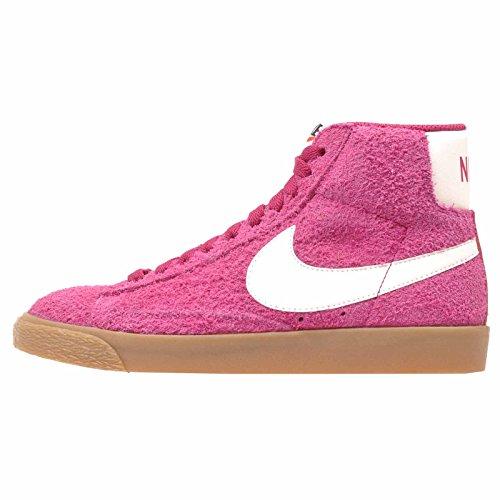 Nike Women's Blazer Mid Suede Vintage Sport Fuchsia/Sail - High-Top Fashion Sneaker -