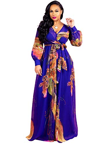 Dora's Womens See Through Deep V Neck Printed Floral Maxi Dress Lining Dresses Hem High Waisted Plus Size ()