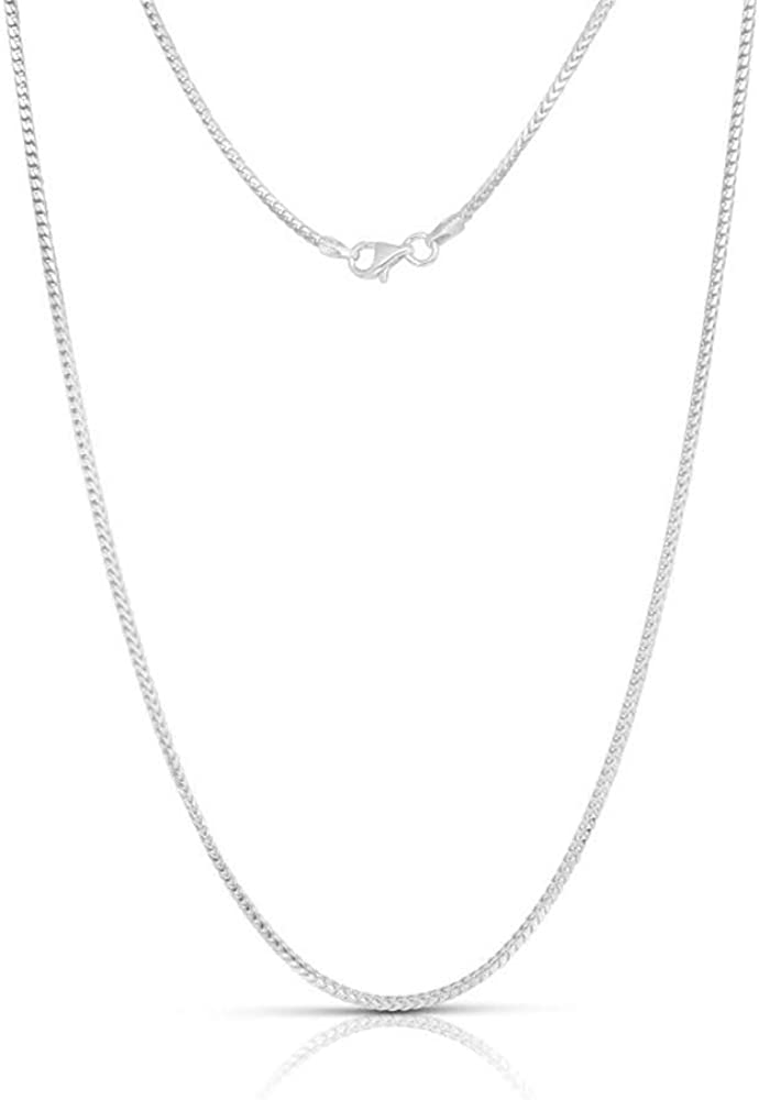 2mm 3mm or 3.5mm Franco Chain Necklace 1.5mm .925 Rhodium Plated Sterling Silver 1mm