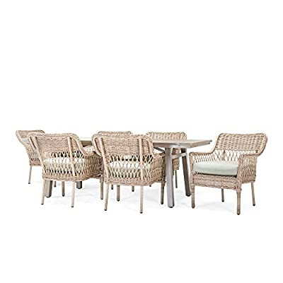 Blue Oak Outdoor Colfax Patio Furniture 7 Piece Dining Set (Dining Table, 6 Dining Chairs) with Sunbrella Cast Oasis Cushions - Luxury patio Dining: you and your party guests will dine in comfort while enjoying cocktails and great conversation. Ideal for patio, garden, deck, porch, fire pit, and Poolside entertainment Trusted quality: beautiful and Best quality outdoor patio furniture set made by the Best known veterans in the patio set industry with dozens of years of experience and innovation Long lasting build: fully hand-woven from oversized vintage Rattan inspired all-weather wicker patio furniture weave chairs. The thick, rustproof aluminum gives it superior durability in the elements - patio-furniture, dining-sets-patio-funiture, patio - 41L 6ch5sIL. SS400  -