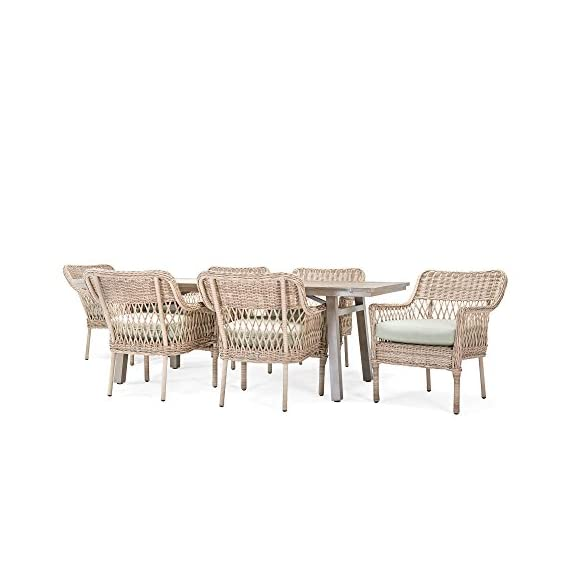 Blue Oak Outdoor Colfax Patio Furniture 7 Piece Dining Set (Dining Table, 6 Dining Chairs) with Sunbrella Cast Oasis Cushions - Luxury patio Dining: you and your party guests will dine in comfort while enjoying cocktails and great conversation. Ideal for patio, garden, deck, porch, fire pit, and Poolside entertainment Trusted quality: beautiful and Best quality outdoor patio furniture set made by the Best known veterans in the patio set industry with dozens of years of experience and innovation Long lasting build: fully hand-woven from oversized vintage Rattan inspired all-weather wicker patio furniture weave chairs. The thick, rustproof aluminum gives it superior durability in the elements - patio-furniture, dining-sets-patio-funiture, patio - 41L 6ch5sIL. SS570  -