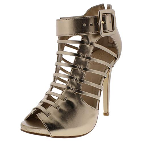 GUESS Womens Adhirra 2 Leather Caged Shooties Gold 5 Medium (B,M) (Guess Evening Shoes)
