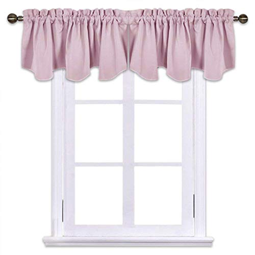 NICETOWN Blackout Valances for Girls Room - 52-inch by 18-inch Scalloped Pole Pocket Valances Window Curtains, Lavender Pink=Baby Pink, Double Panels ()
