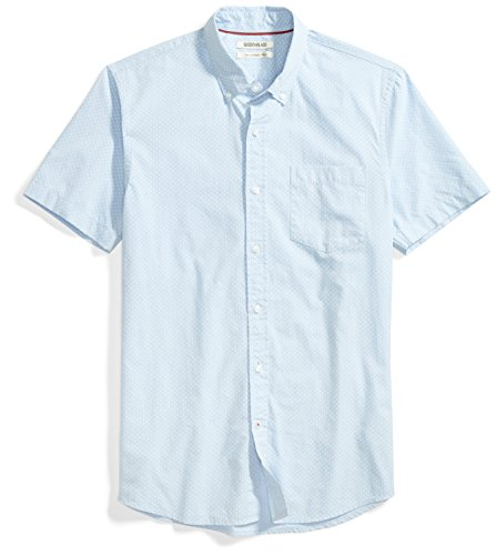 Goodthreads Men's Slim-Fit Short-Sleeve Printed Poplin Shirt, Blue/White, Small