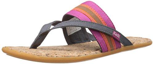 Keds Women's Tealight Band Flat Sandal,Pewter,5 M US