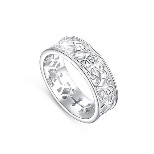 DAOCHONG Nickel-Free 925 Sterling Silver Irish Love Trinity Woven Celtic Knot Band Ring for Women, Size 5 6 7 8 9 10 11(7)
