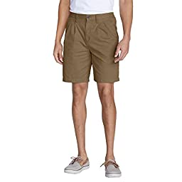 Eddie Bauer Men\'s Legend Wash Side-Elastic Chino Shorts, Saddle 42 Tall