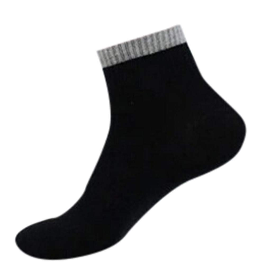 1Pair Thin High Ankle 100% Pure Cotton Socks LightWeight Comfort Soft Grip Diabetic (Black) by Levacy Sports & Outdoors (Image #1)
