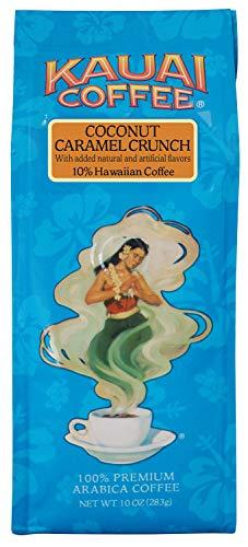 100% Kauai Ground Coffee, Coconut Caramel Crunch -100% Premium Ground Arabica Coffee from Hawaii
