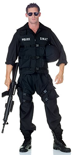 Underwraps Men's Swat with Jumpsuit, Black, One Size