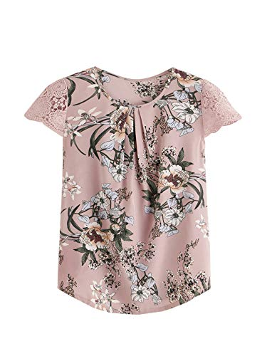 Floral Petite Blouse - Milumia Women's Boho Floral Print Lace Cuff Pleated Cap Sleeve Work Blouse Top