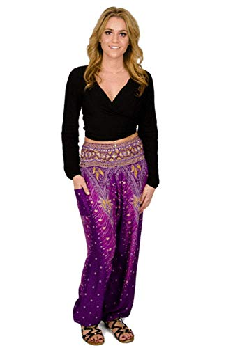 - Happy Trunks Harem Pants - S M L XL - Womens Plus Hippie Bohemian Yoga Elephant Pants (X Large, Purple Peacock)