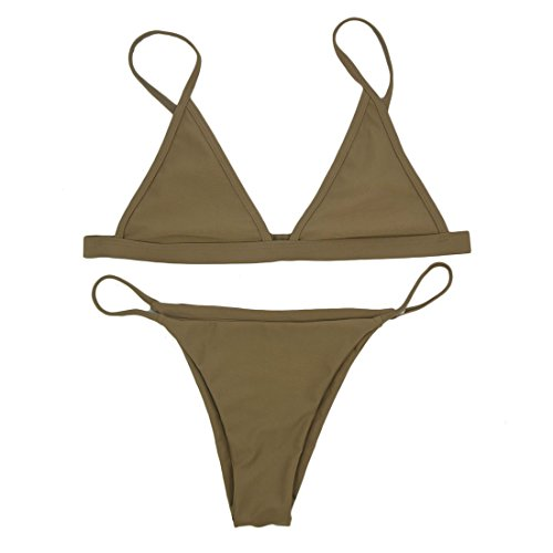 RELTANGL Women's Bikini Triangle Top Brazilian Bottom Swimwear Bikini Set, Brown, Medium