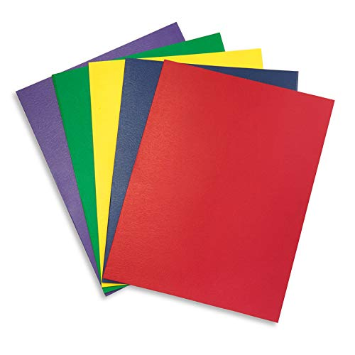 Blue Summit Supplies 50 Two Pocket Folders, Designed for Office and Classroom Use, Assorted 5 Colors, 50 Pack Colored 2 Pocket Folders ()