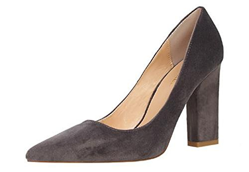 coollight Women Sexy High Heel Pumps Cusp Toe Velvet Suede Straps Thick High Heeled Sandals High Heel(Gray 34/3 B(M) US (Dark Grey Patent Footwear)