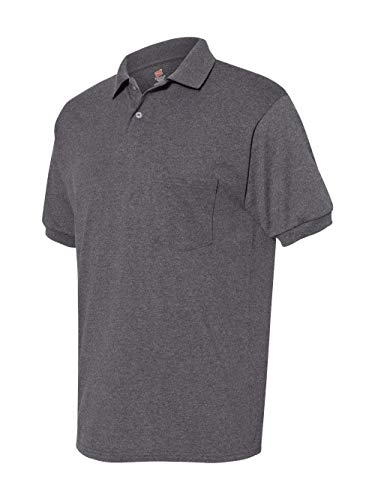 Hanes Cotton-Blend Jersey Men`s Polo with Pocket, L