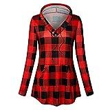 Keliay Bargain Women Hooded Pocket Plaid Hooded Sweater...