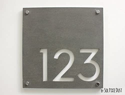 modern house numbers square concrete with white acrylic contemporary home address. Black Bedroom Furniture Sets. Home Design Ideas