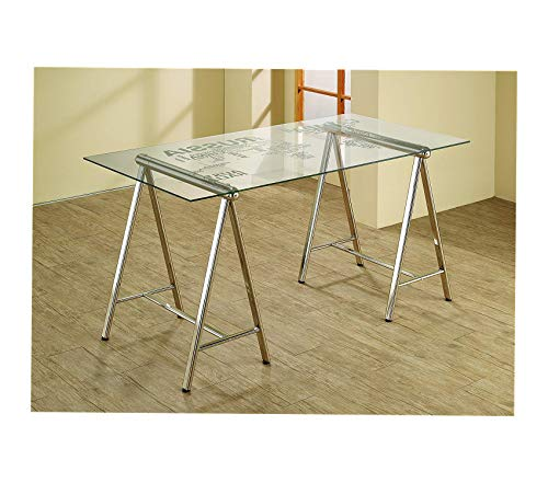 Wood & Style Office Home Furniture Premium World Map Writing Desk Nickel and Printed Clear