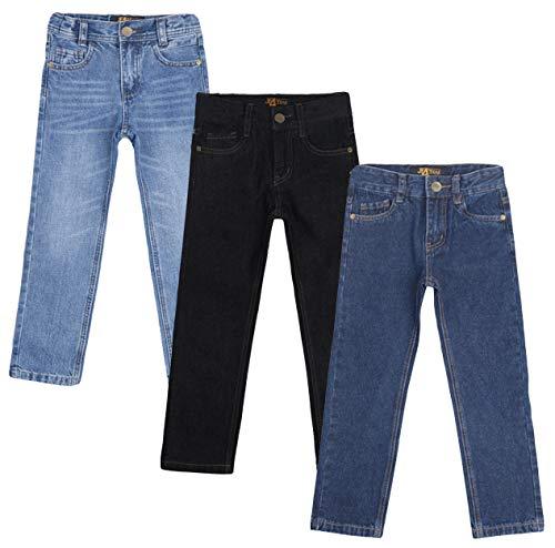 justfound4u Designer Boys Jeans Adjustable Waist Trousers Black Blue Denim Wash Toddler Kid Children Age 2 3 4 5 6 7 8 9 10 11 12 13 14 15 16 Years (Black, 14-15 Years (EU 170))